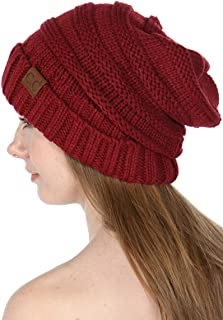 CC Beanies for Women | Slouchy Knit Beanie hat for Women, Soft Warm Cable Winter Chunky CC Hats
