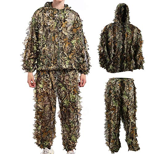 Ghillie Suit Camouflage Suit Outdoor Hunting Camo Halloween Cosplay Costume Woodland 3D Leaf Hunting Suit