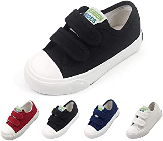 Toddler Kids Boys Girls Canvas Sneaker Adjustable Strap Slip On Little Kid Lightweight Runner Loafer Tennis Shoes