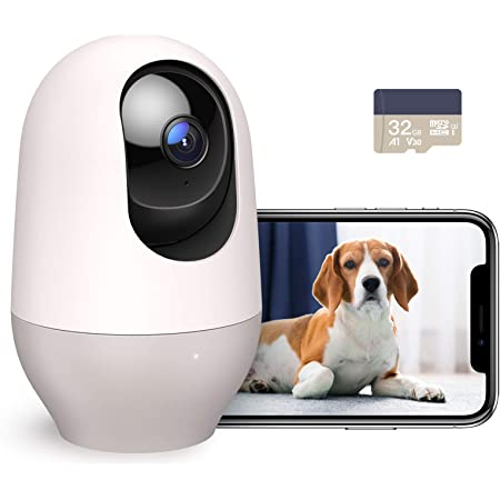 Nooie WiFi Dog Camera, Baby Monitor, 1080P FHD indoor Wireless IP Camera, Home Security Camera with SD card, Motion Tracking Night Vision Two-Way Audio Motion and Sound Detection, Works with Alexa