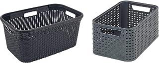 CURVER   Panier à linge 45L - Aspect rotin, Anthracite, Laundry Hampers & Baskets, 59,2x38x27 cm &   Rangement Style Aspec...