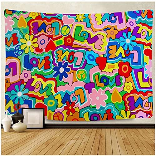 BD-Boombdl Tapiz geométrico colorido alfabeto tapiz montaje en pared cubierta de cama bohemia manta dormitorio decoración del hogar 59.05'x78.74'Inch(150x200 Cm)