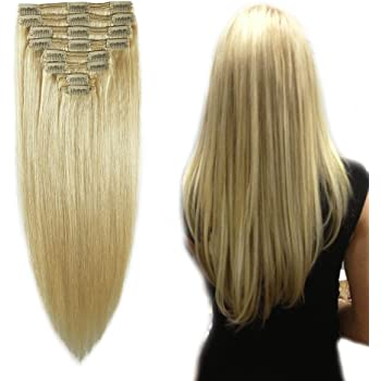 "Double Weft 100% Remy Human Hair Extensions Clip in #613 Bleach Blonde 10''-22'' Grade 7A Quality Full Head Thick Thickened Long Short Straight 8pcs 18clips for Women Beauty 10"" / 10 inch 110g"