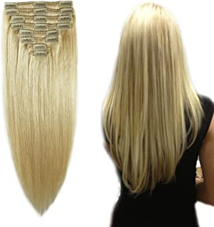 """Double Weft 100% Remy Human Hair Clip in Extensions 14''-22'' Grade 7A Quality Full Head Thick Thickened Long Soft Silky Straight 8pcs 18clips (12""""/12 inch 110g,#613 Bleach Blonde)"""