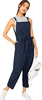 Verdusa Women's Sleeveless Straps Pockets Plaid Culotte Jumpsuit Overalls
