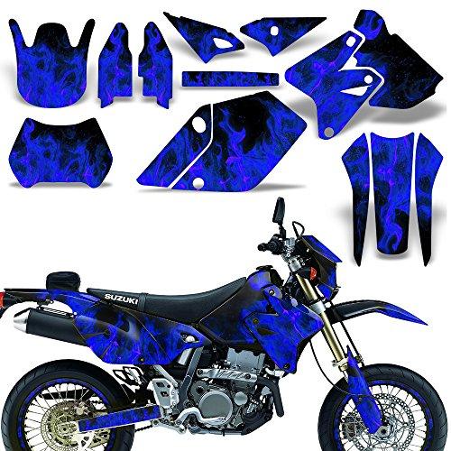 Wholesale Decals MX Dirt Bike Graphics kit Sticker Decal Compatible with Suzuki DR-Z400 SM E 2000-2018 - Flames Blue