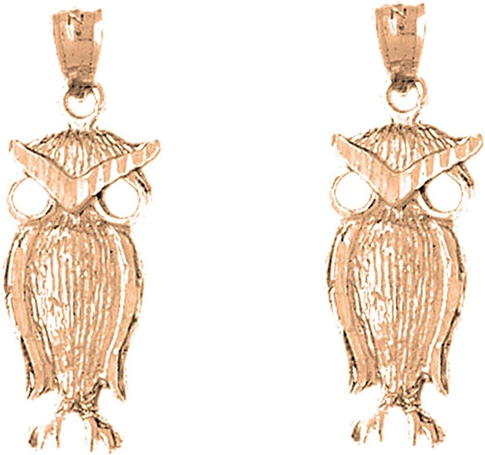 Jewels Obsession Owl Earrings 14K trust Lever Back favorite Rose Ear Gold