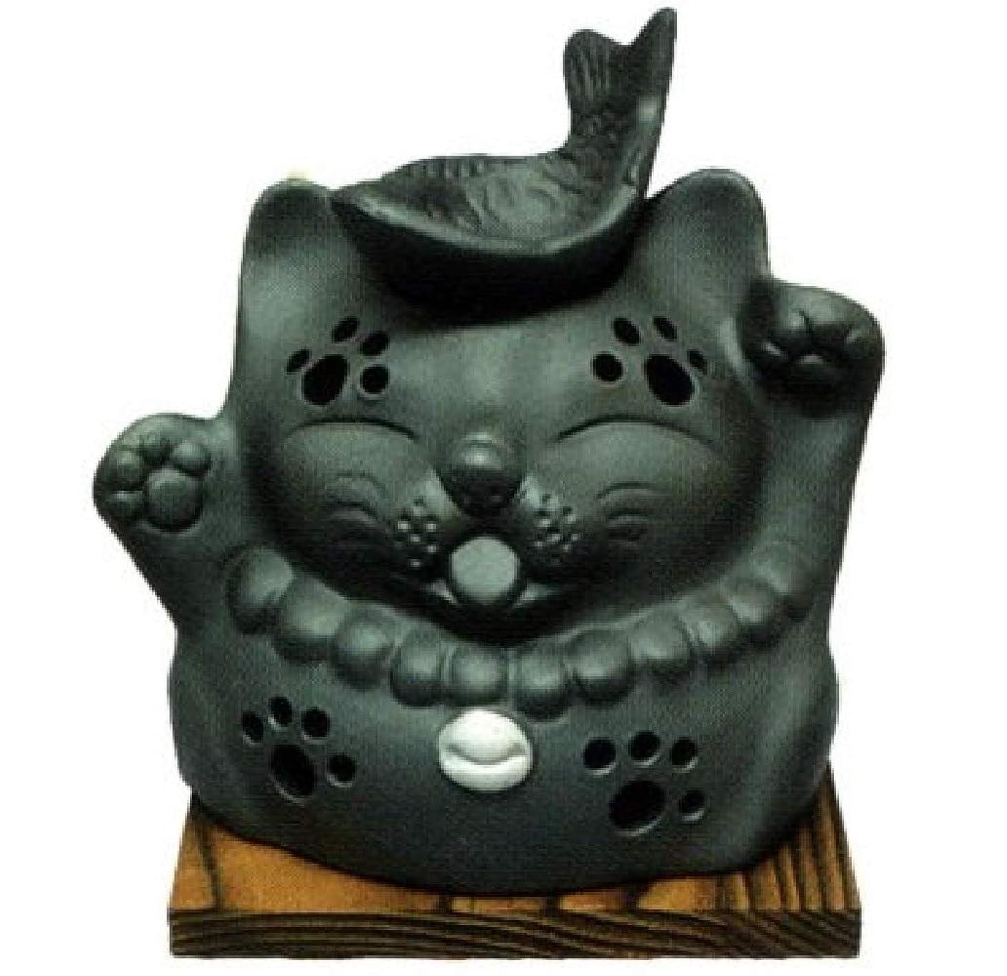 好きである隣接セミナー常滑焼?山房窯 カ39-12 茶香炉 猫と魚 杉板付 径12.5×12cm