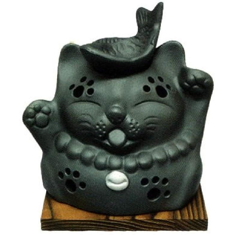 悲しい絡み合い病な常滑焼?山房窯 カ39-12 茶香炉 猫と魚 杉板付 径12.5×12cm