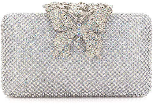 Dexmay Rhinestone Crystal Clutch Purse Butterfly Clasp Women Evening Bag for Formal Party AB Silver