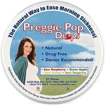 Preggie Pop Drops | 21 Drops | Morning Sickness & Nausea Relief during pregnancy | Safe for pregnant Mom & Baby | Gluten Free | Four Flavors: Lemon, Raspberry, Green Apple, Tangerine