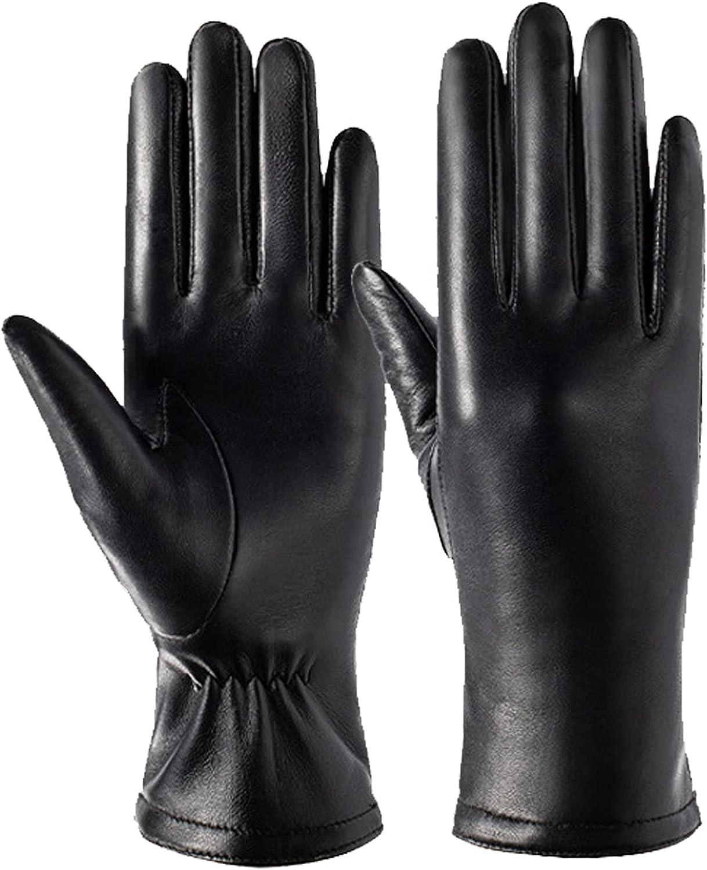 YRYG YRYG Sheepskin Gloves, Winter Leather Gloves, Winter Sheepskin Driving Gloves, Suitable for Women's Cold Weather Gloves, Cashmere Lining (Black)