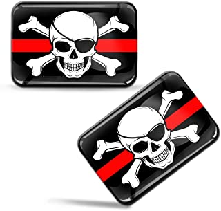 2 x 3D Domed Silicone Stickers Decals Pirates Jolly Roger Skull Crossbones Bones Pirate Flag Car Motorcycle Helmet F 67