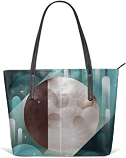 Fly Me To The Moon Leather Tote Large Purse Shoulder Bag Portable Storage HandBags Convenient Shoppers Tote