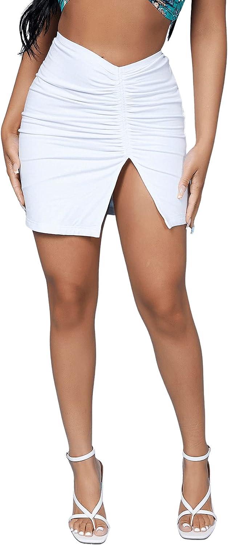 Verdusa Women's Ruched Split Hem Solid Bodycon Mini Pencil Skirt
