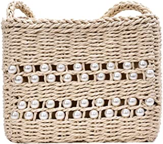 GSERA Stroh Umhängetaschen für Frauen Handgemachte Gewebte Perlentasche Urlaub Reise Strandtasche Böhmen Bali Handtasche