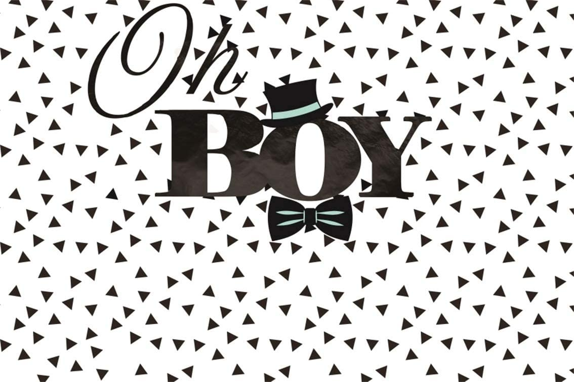8x6ft Boy Baby Shower Theme Backdrop Polyester Photography Background Cartoon Black Hat Mustache Bowknot Little Man White Polka Dots Light Blue Backdrops Child Kids Birthday Party Photo Studio