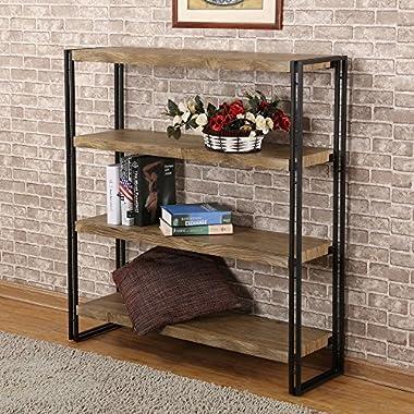 FIVEGIVEN 4 Shelf Bookcase with Open Storage Book Shelves Rustic Industrial Metal, Sonoma Oak