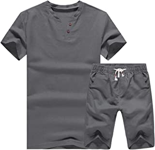 Men's Linen Summer Beach Sweatshirt Set for Short Pants
