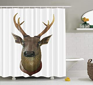 Hdmly Buffalo Check Plaids Shower Curtain,HdmlyAnimal Board Bone Brown Deer Eye Face Head Horn Mammal 72x78 Inch Fabric Bathroom Shower Curtain Cloth Polyester Bath Curtain Art,Animal Board Bone