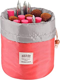 Travel Cosmetic Bags Barrel Makeup Bag,Women&Girls Portable Foldable Cases,EUOW..