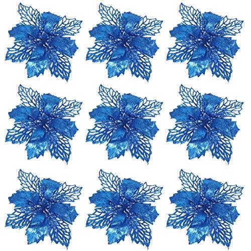 9Piezas Flores Poinsettia Brillante de Navidad Flores Navideñas Artificiales,Flores de Pascua Artificial de...