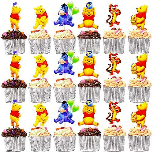 BESTZY Winnie l'ourson Bon Anniversaire 120 Pièces Miel d'ourson Gateau Décorations Happy Birthday Tigrou Cupcake Gâteau Bébé d'anniversaire Bourriquet Cake Topper pour Garçons Filles