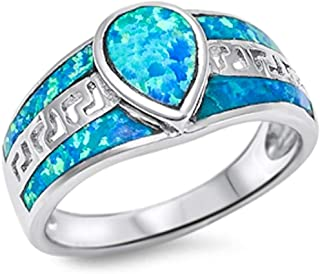 Oxford Diamond Co Solid Pear Shape Blue Fire Opal .925 Sterling Silver Ring Sizes 5-11