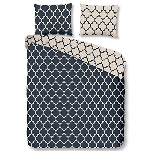 Descanso bettwäsche mit blau und beige Muster, 100% Baumwolle/Satin, 135x200 cm, 200 x 135 x 0,5 cm