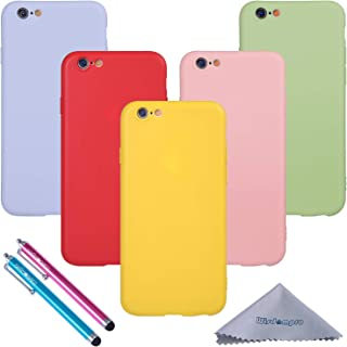 iPhone 6 Case, iPhone 6s Case, Wisdompro Bundle of 5 Pack Extra Thin Slim Jelly Soft TPU Gel Protective Case Cover for Apple 4.7 Inch iPhone 6 6s (Green, Light Blue, Pink, Yellow, Red) - Candy Color