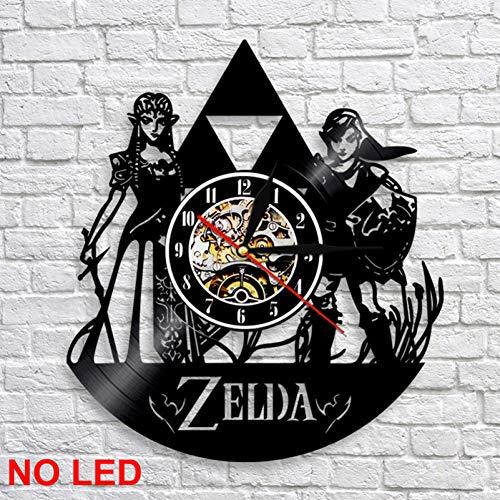 HTJXN Vinyl Record Wanduhr The Legend of Zelda Vinyl Clock handgemachtes Geschenk Wand Atmosphäre Licht Lp Vintage Silhouette Rekord Cool Interieur dekorativ