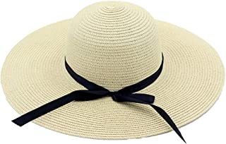 Hats Foldable Roll up Sun Hat Beach Cap Womens Bowknot Straw Hat Fashion (Color : Beige, Size : Adjustable)