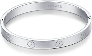 HOWIE Jewelry,Men Women Yellow/Rose/White Gold Plated Cuff Bracelet Hinged Bangle Love Bangle Bracelet Oval Fits 6.5-7.5 Inch