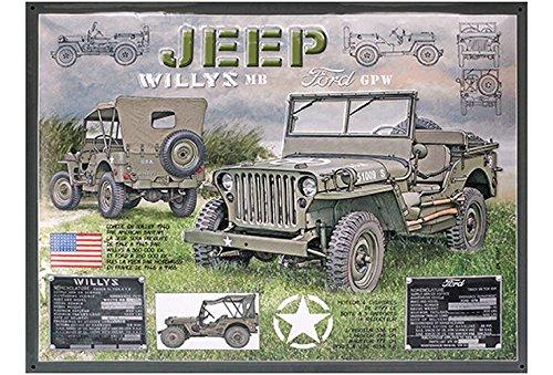 Francia Vintage Placa Metal 40x30cm Jeep Willys MB Ford GPW Ejército Estadounidense WW2