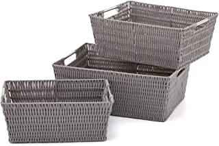 EZOWare Set Of 3 Resin Woven Storage Tote, Plastic Wicker Shelf Organizer Basket  Bins Boxes