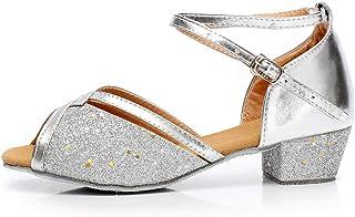 Dansschoenen voor meisjes en meisjes, pailletten, dansschoenen, schoenen voor prinses, antislip, lage hak, ballroomschoene...