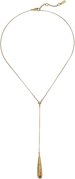 Cole Haan - Y Necklace with Bezel Set Stone and Teardrop Pendant with Embedded Crystal Stones