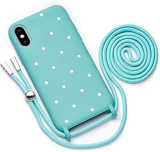 QULT Funda con Cuerda Compatible con iPhone XR Carcasa de movil con Colgante Cadena Suave Silicona Necklace Bumper Case Tu...