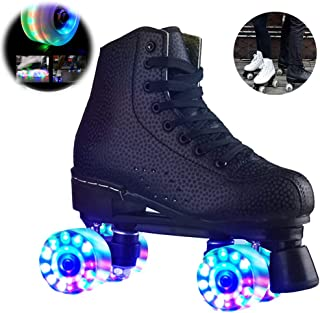 Bonwuno Roller Skates for Adults, Flash Vent Breathable Roller Skates with LED Light Double Row Quad Roller Skates, Withstand 220 lb, Light up Roller Skates for Outdoor, Indoor and Rink Skating