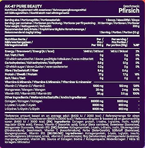 AK-47 Labs - grynas grožis - puiki atrama sveikai odai, storiems plaukams ir stipriems nagams - 200 g (persikų baltoji arbata - baltųjų persikų arbata): Amazon.co.uk: Health & amp;  Asmeninė priežiūra