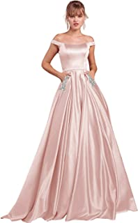 2c8dca9177 Yilis Women s Off The Shoulder Beaded Satin A-line Evening Prom Dress Long  Formal Party