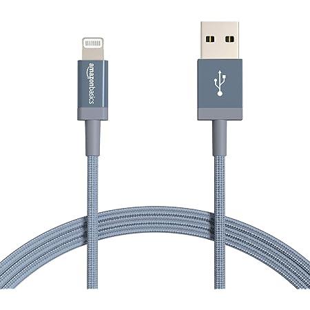 Amazon Basics Câble USB A vers Lightning en nylon tressé Chargeur certifié MFi pour iPhone Gris foncé 1,8 m