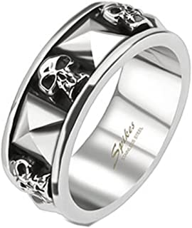 Blue Palm Jewelry - Rings Skull and Pyramid Combination Cast Band Ring Stainless Steel Band Ring R655
