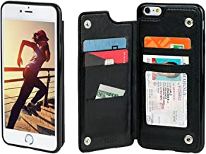 Gear Beast Lychee PU Leather Protective Top View Slim Wallet Case Fits iPhone 6s Plus / 6 Plus Includes Flip Folio Cover, with Five Card Slots Including Transparent ID Holder Black CFMW-IP6P-BLK