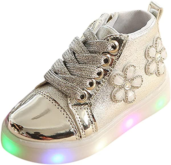 Kids LED Slip On Sneakers Weaving Mesh Breathable Rhinestone Flower Infant Toddler Girls Boys LED Luminous Sport Shoes Sneakers Luminous Boots Sport Shoes Sneakerss For 1 6 Year Old