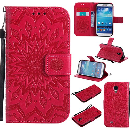 A-slim Galaxy S4 Wallet Case, (TM) Beauty Fashion Sun Pattern Embossed PU Leather Magnetic Flip Cover Card Holders & Hand Strap Wallet Purse Cover Case for Samsung Galaxy S4 I9500 - Red