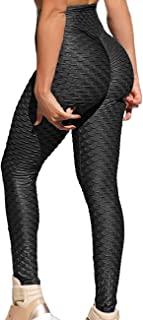 RIOJOY Women Honeycomb Anti Cellulite Waffle Leggings, High Waist Yoga Pants Bubble Textured, Scrunch/Ruched Butt Lift Run...