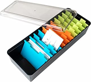 Business Card Holder Box Business Card File Card Storage Box Organizer, Large Capacity for 500 Cards, Index Card Storage Box, 11 Divider