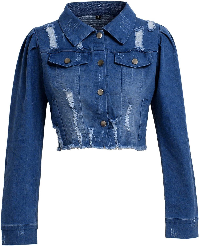 LLONG Women's Jean Jacket Casual Distressed Ripped Short Denim Jean Jacket Oversized Denim Jacket Puff Sleeve Jean Coat