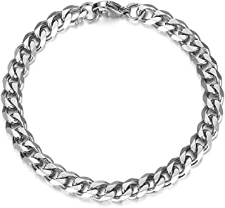 Trendsmax Stainless Steel Curb Cuban Link Chain for Men Boys Hip Hop Rapper Bracelet Silver Gold Black 7-11 Inch